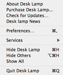 Desk Lamp Menu